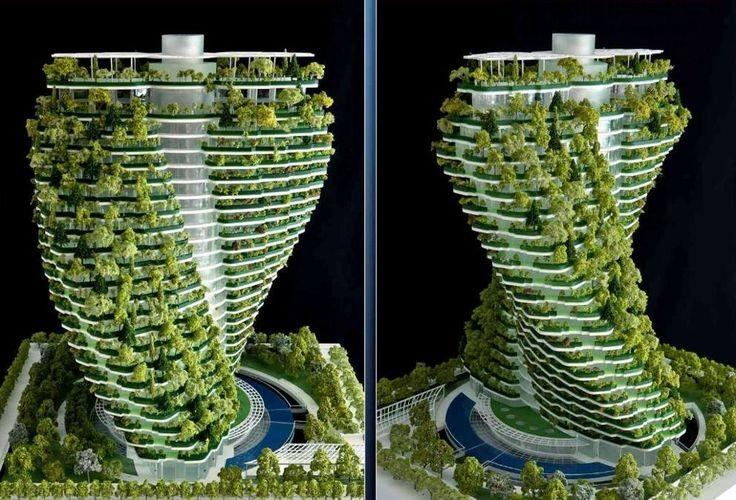 La Torre Tao Zhu Yin Yuan, progettata a Taipei (Taiwan) dallo studio francese di architettura Vincent Callebaut promette di essere una delle grandi novità dell'architettura del 2017. Il grattacielo a spirale, con una doppia elica che dalla base alla cima ruota di 90 gradi, sarà in grado di assorbire di 130 tonnellate di anidride carbonica ogni anno grazie ai suoi 23mila alberi. (Foto Vincent Callebaut Architectures)