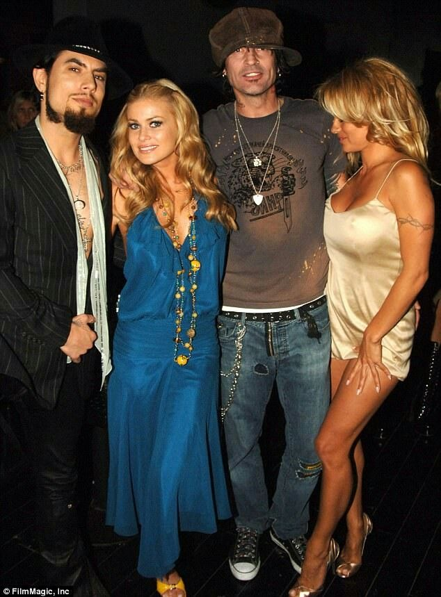 Dave Navarro, then wife Carmen Electra, Tommy Lee and then wife Pamela Lee Anderson in 2005