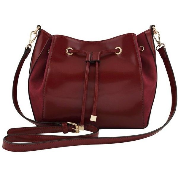 M&Co Drawstring Bucket Bag ($49) ❤ liked on Polyvore featuring bags, handbags, shoulder bags, berry red, bucket handbags, red handbags, drawstring bucket bag, bohemian handbags and red purse