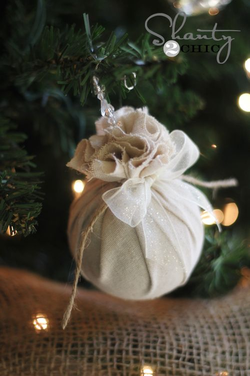 diy christmas ornament - love this shanty 2 chic transformation and I have a lot of ornaments I could use for it already! Thinking of using burlap, natch.