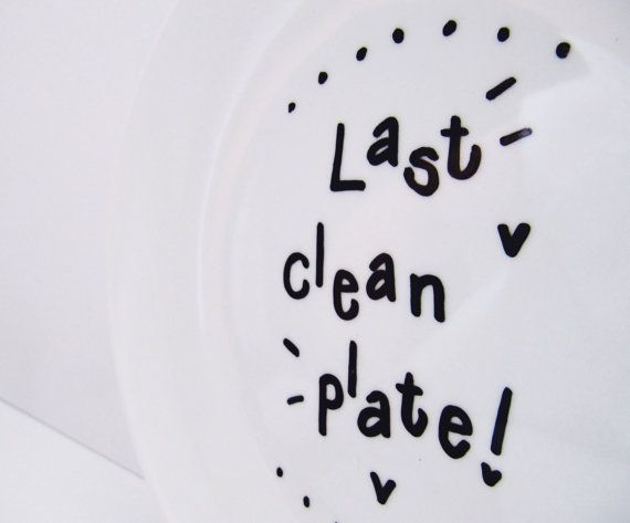 Funny Last Clean Plate Hand Painted Small by LilyLovesShopping
