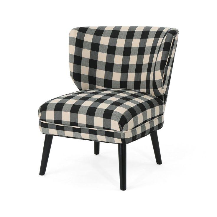 Best Laurier Modern Farmhouse Accent Chair Black Checkerboard 640 x 480