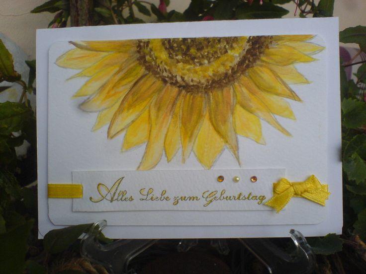 Card Sonnenblume/Sunflower Aquarell