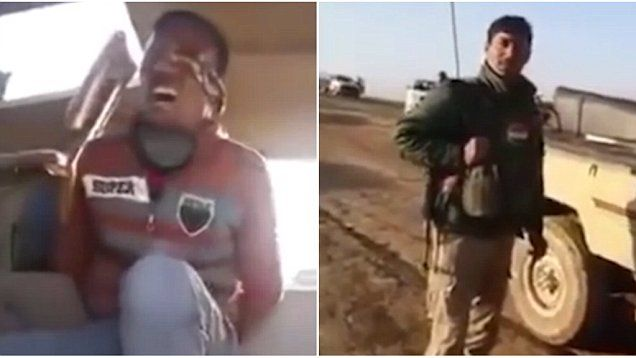 Footage appears to show a member of ISIS crying after being captured by the Kurds.