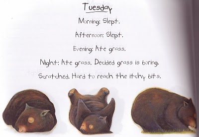 from Diary of a Wombat, written by Jackie French and illustrated by Bruce Whatley