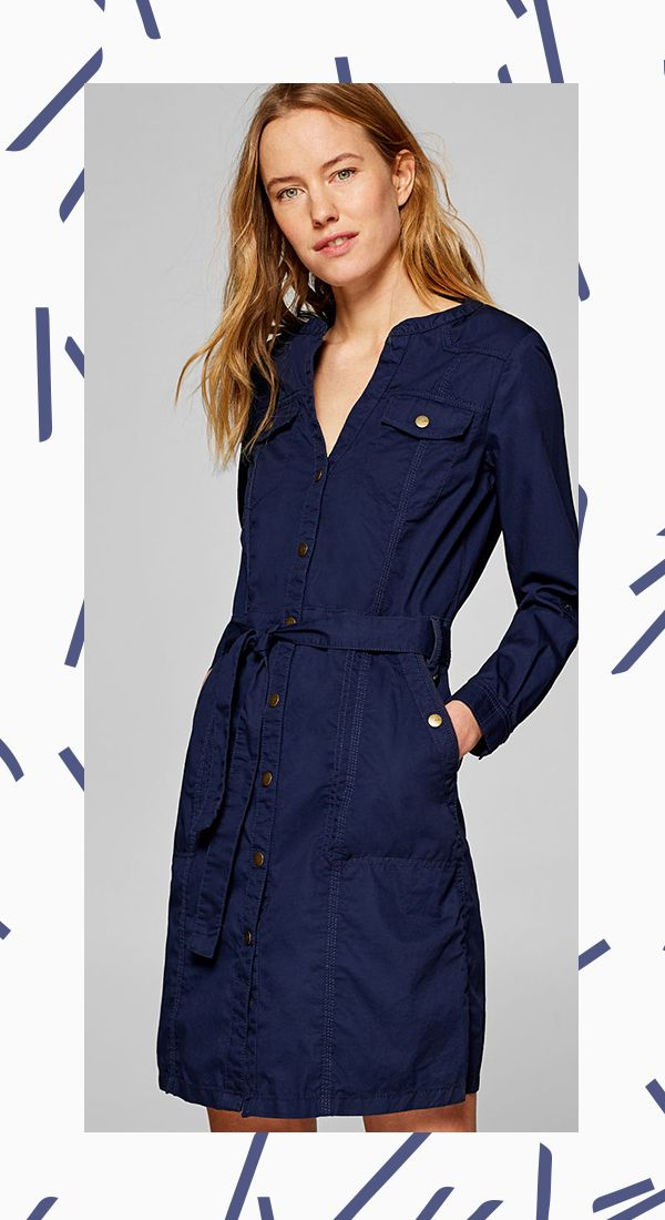 9ea4115af3f4 ESPRIT blue sporty shirt dress, 100% cotton. This shirt dress has an  incredibly casual style with its cotton fabric, functional details and  sporty design!