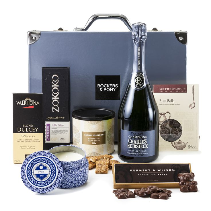 Pure Luxury Hamper:  Pure Luxury is yours to discover with this amazing collection of Charles Heidsieck french champagne, Capri Blue Paris candle and the finest quality chocolates from Valrhona, Zokoko and Kennedy & Wilson.