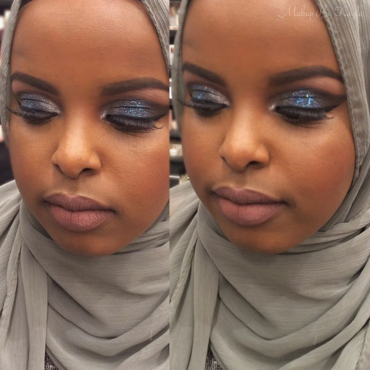 Cut crease silver/navy blue with some glitter to complete the look! This was for a wedding my client was going too