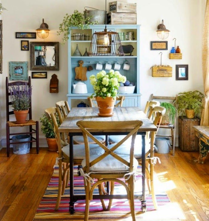 COZY LITTLE HOUSE Kitchen HutchKitchen TablesKitchen DiningCity FarmhouseEclectic Dining RoomsDining Room InspirationLittle