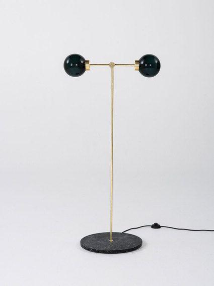PARE Floor Lamp 02 - Midnight Glass on a Noir marble base