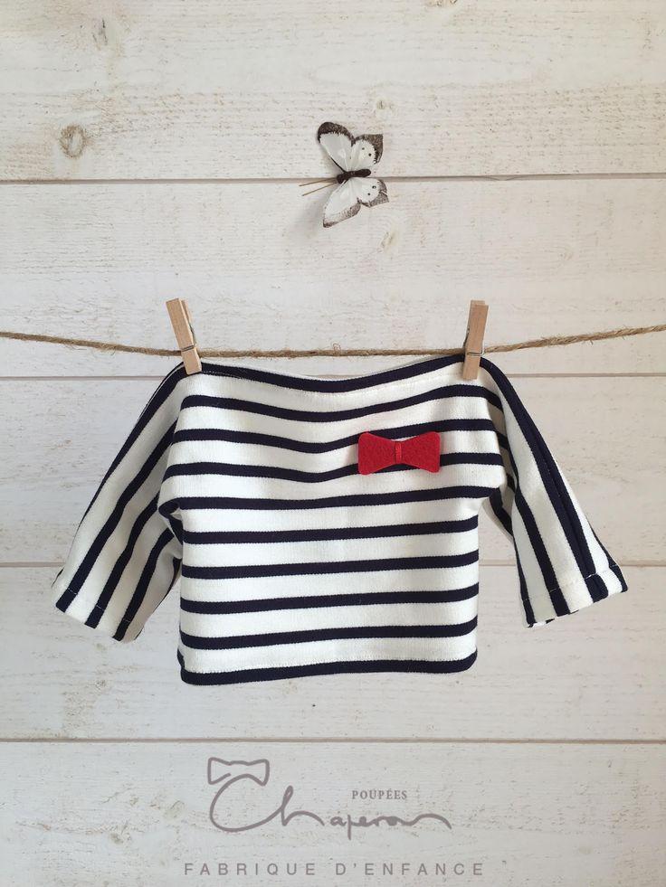 Marinière en jersey blanc/bleu #poupéeschaperon#poupéeswaldorf