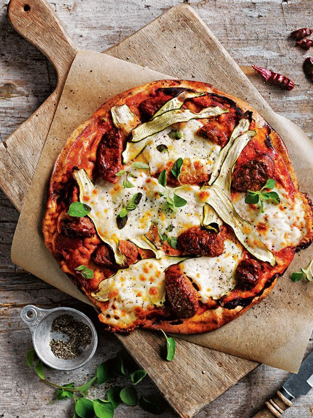 Tomato Chorizo And Zucchini Cheats Pizza from Donna Hay