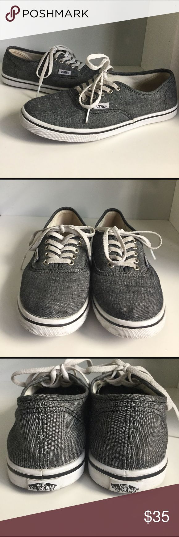 Vans Authentic Lo Pro Canvas Sneakers Worn several times and still in great condition. Minor stains. Men size4.5, women 6.  Canvas heathered gray Vans Shoes Sneakers