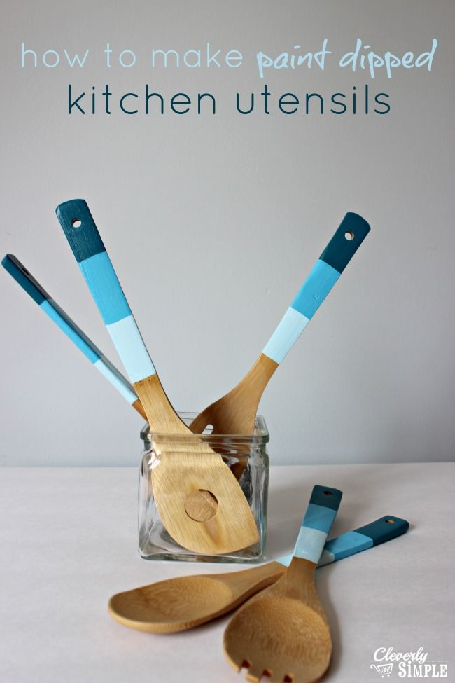 Here's an easy way to make paint dipped kitchen utensils.  This is a perfect Mother's day gift idea!