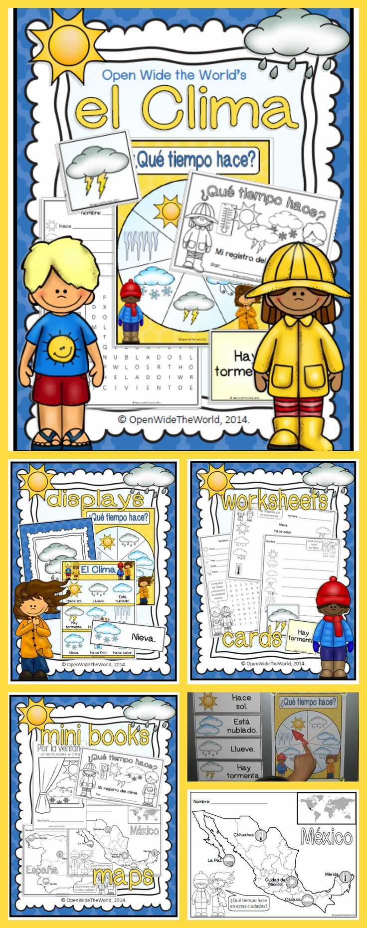 Packed with useful Spanish weather vocabulary, colorful graphics, and lots of activities, this packet is perfect for first weather units and/or circle time! ($)