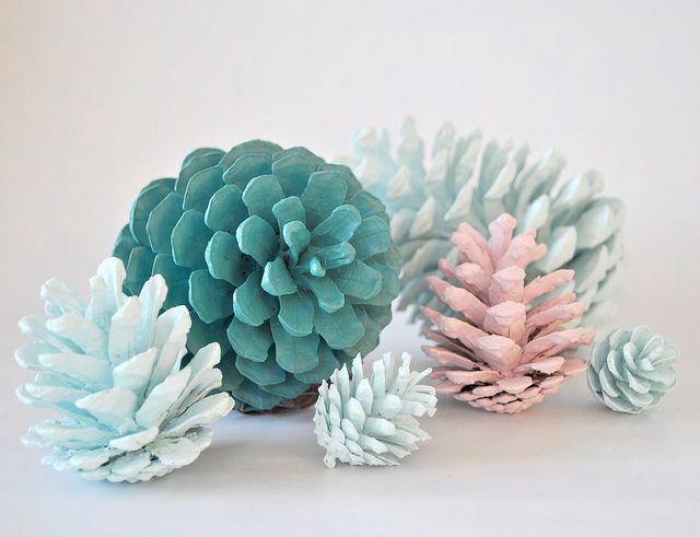 pastel painted pinecones.