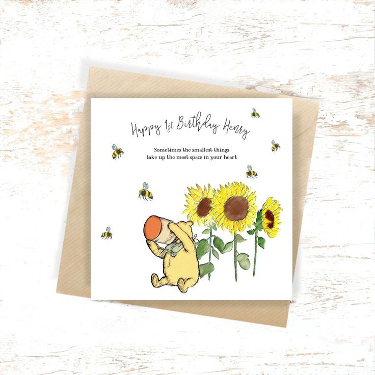 1st Birthday card Winnie the Pooh Card Baby birthday card