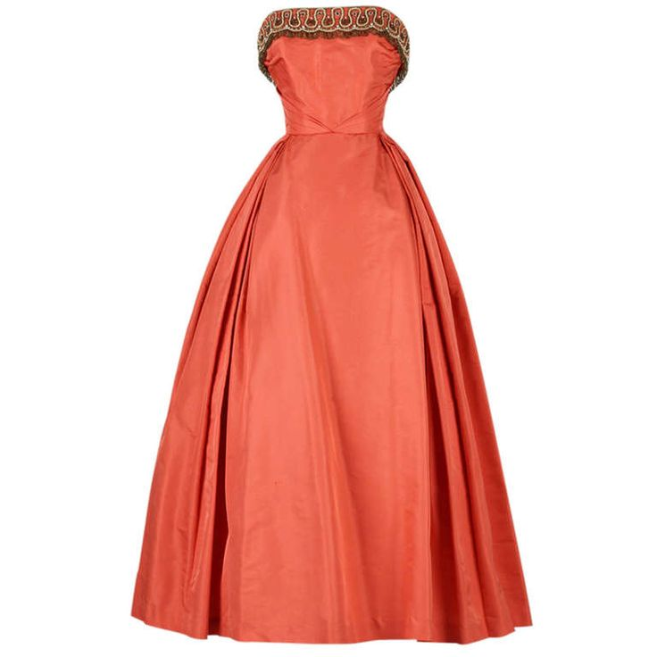 Vintage 1950's Minuet by Mollie Stone Silk Taffeta Dress | From a collection of rare vintage evening dresses at http://www.1stdibs.com/fashion/clothing/evening-dresses/