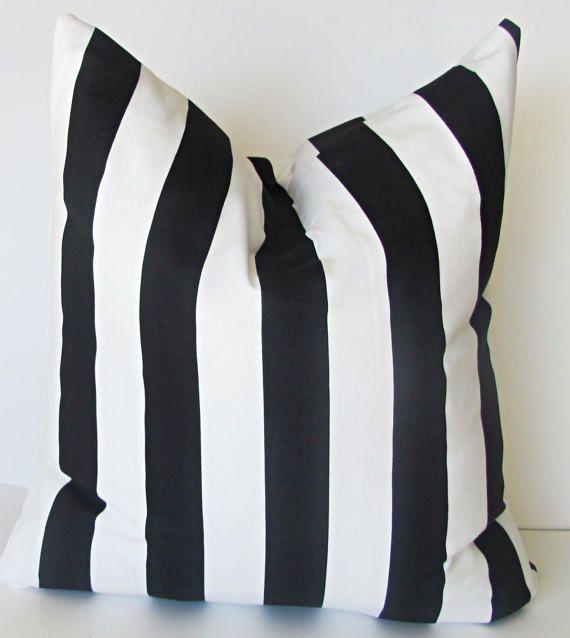 Black PILLOW COVER. Black Accent Pillow.Black Striped Pillow