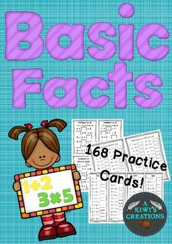 This pack contains 168 cards (on 53 pages) for students to independently practice their basic facts. This set contains everything from Addition to 5- Multiplication & Division!I designed this set with the intention that the cards would be laminated and used as math activities at different skill levels.