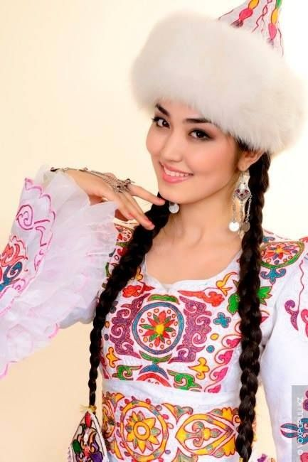 A Kazakh girl in traditional dress.