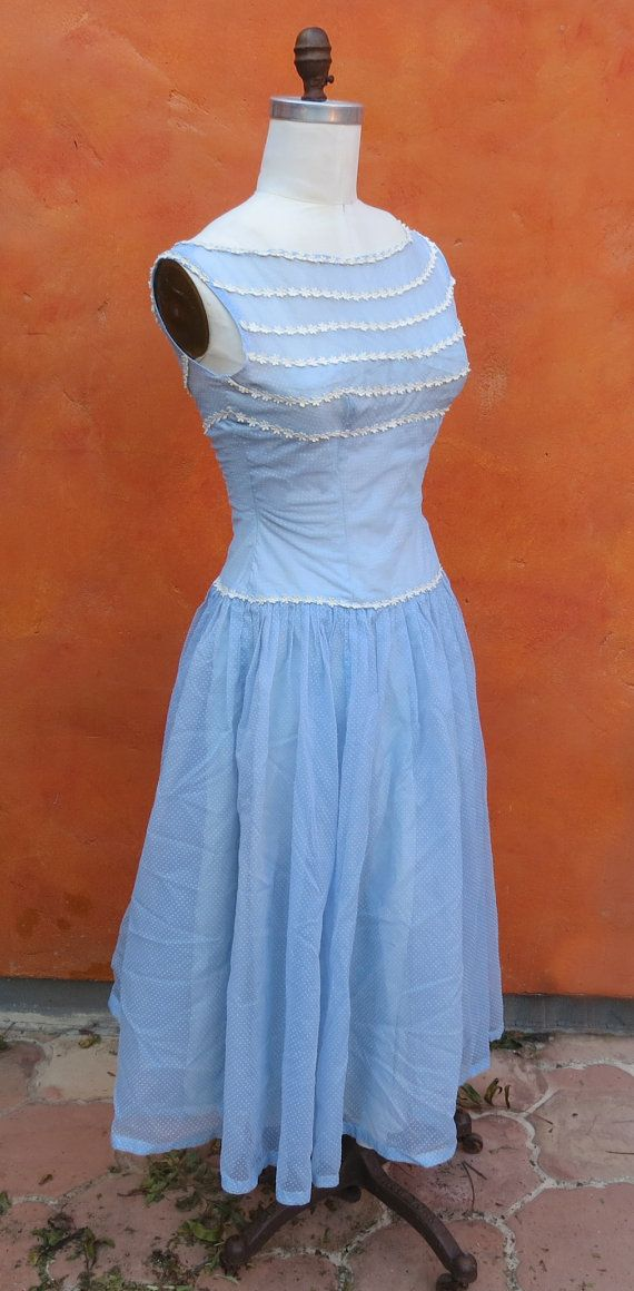Vintage 1950s Casual Day Swing Dress. Light by SweetPickinsShop