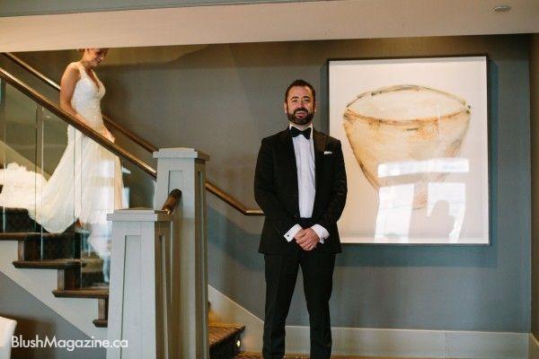 Rustic Lake House Wedding, Calgary AB. First Glance, First Look, Groom, Rustic Wedding