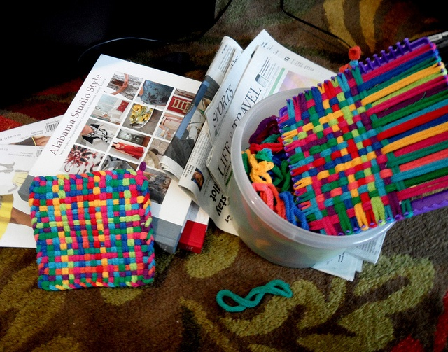 how to finish potholder loom