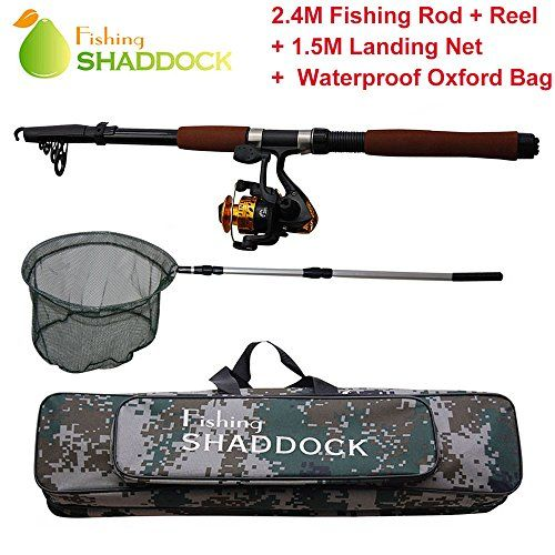Hunting- 2.4M Telescope Fishing Rod   Reel   1.5M Aluminum Landing Net   Fishing Bag Kit >>> See this great product.