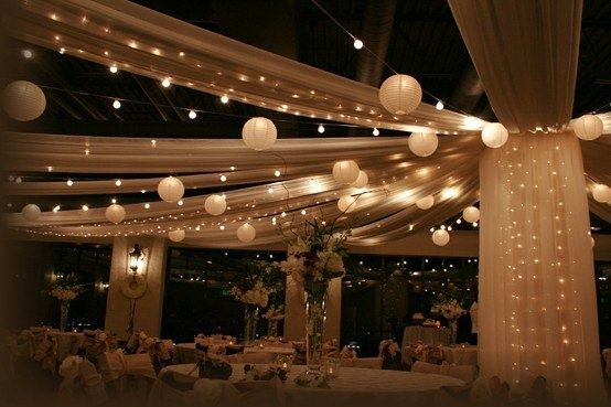 tuelle and twinkle lights | Tulle + twinkle lights | Weddings