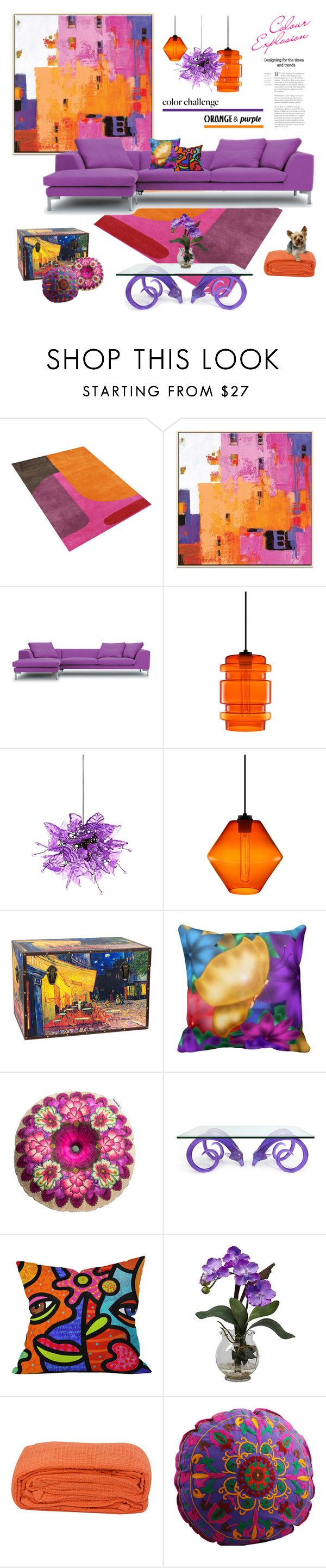 """""""Color Challenge: Orange and Purple"""" by maitepascual ❤ liked on Polyvore featuring interior, interiors, interior design, home, home decor, interior decorating, Niche Modern, Universal Lighting and Decor, Desigual and Jonathan Adler"""
