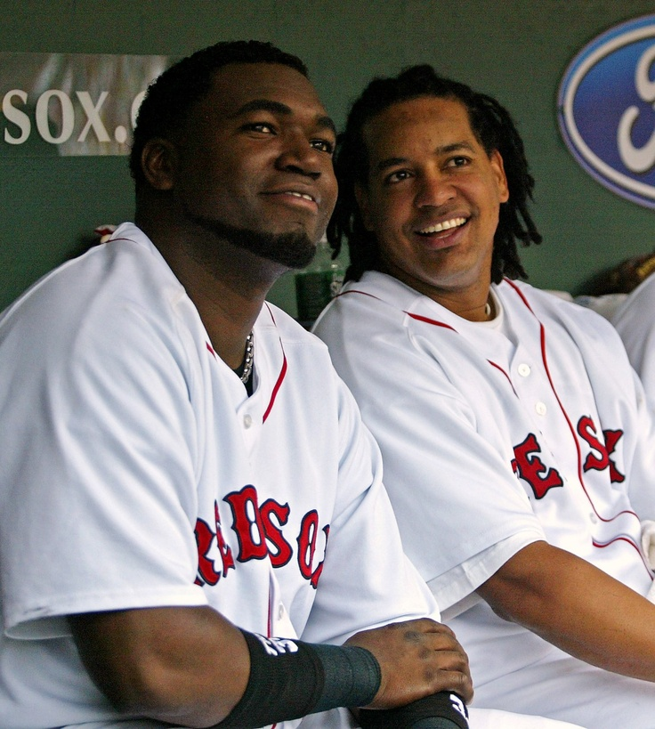 Manny Ramirez Red Sox | Boston Red Sox' Manny Ramirez, right, sits in the dugout with then ...