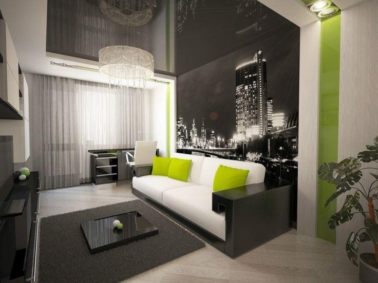 Wohnzimmerwände mit Farbe gestalten - schräge Streifen mit 3
