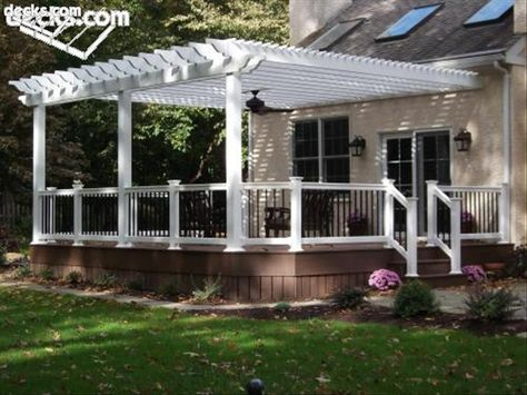vinyl pergolas attached to house   This white vinyl pergola kit was attached to the house wall with a ...