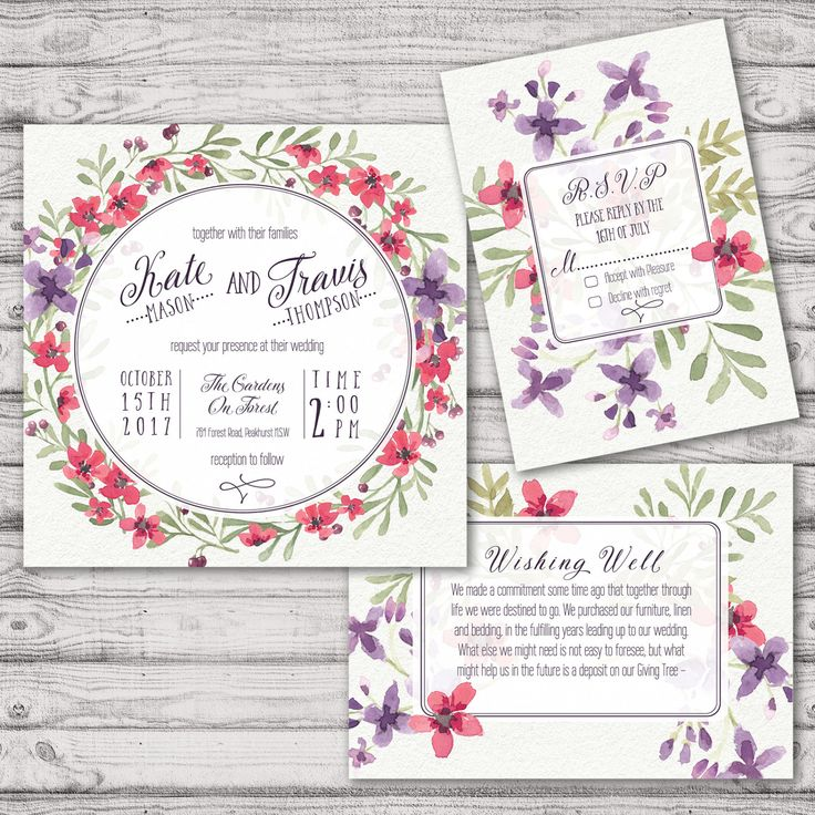 Lavender Watercolour Wedding Invitation Suite   Print At Home Files Or Printed  Invitations   Lavender Watercolor