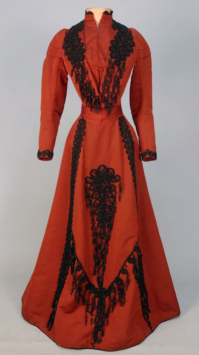 SILK AFTERNOON DRESS with CORDED TRIM and TASSELS, c. 1896