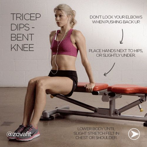 mindy-fit:  fits—piration:  Bent Knee Tricep Dip | Instagram @Zain Zova on We Heart It.