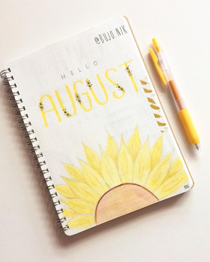 "155 Likes, 9 Comments - @bujo.nik on Instagram: ""Here is my August cover page! After you guys gave my ""tester"" so much love I went with the yellow…"""