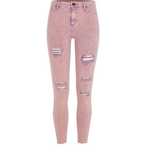 River Island Pink acid wash Molly ripped jeggings ($84) ❤ liked on Polyvore featuring pants, leggings, jeans, jeggings, pink, women, ripped denim leggings, red leggings, skinny jeggings and ripped jean leggings