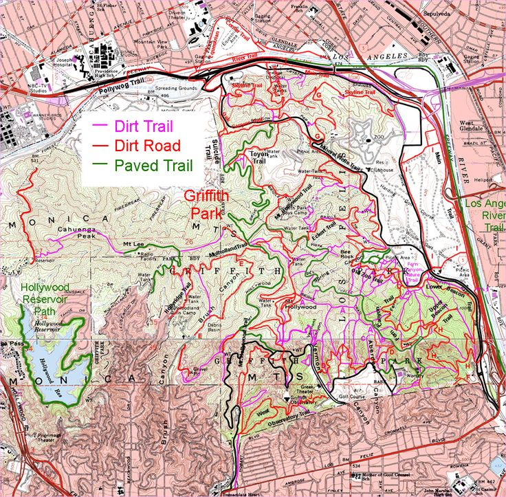 Downloadable map of the trails in Griffith Park  rightclick