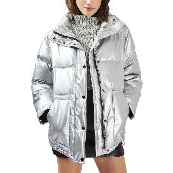 Women's Topshop Bianca Metallic Puffer Jacket ($140) ❤ liked on Polyvore featuring outerwear, jackets, silver, long jacket, metallic jacket, silver jacket, silver puffer jacket and topshop jackets