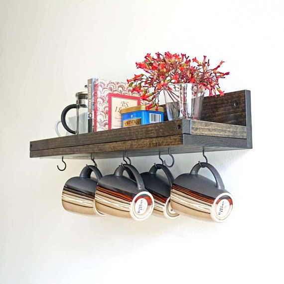 Rustic Mug Rack With Shelf Wall Mounted Coffee Cup Holder Display Coffee Bar Decor Organizer Mug Rack Rustic Mugs Coffee Cup Holder