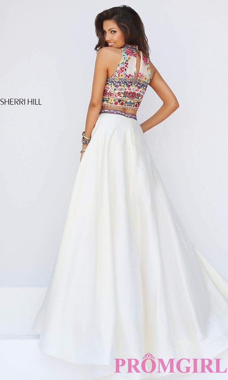 Image of two piece high neck embroidered top floor length dress Front Image