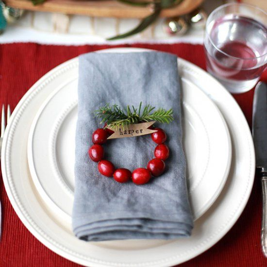 For a simple place setting, make up these easy cranberry wreath place cards.