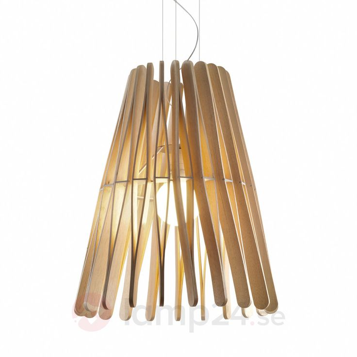 Designerhänglampa Stick med lampskärm i trä