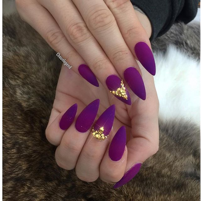 Glorious matte Eggplant purple almond nail art with gold stones