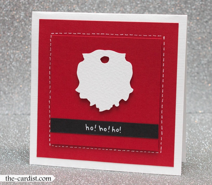 """Santa-beard card. 1. Make card from white textured cardstock. 2. Adhere square of red textured cardstock to card. 3. Using dimensional adhesive, adhere smaller square of red textured cardstock to other red square. 4. Using more dimensional adhesive, adhere die-cut of Santa beard to smaller square. 5. Adhere strip of black cardstock below die-cut. 6. In white pen, draw stitches around small square and write """"ho! ho! ho!"""" on black strip. Die-cut: Making Memories Slice, """"Mistletoe"""" design card."""