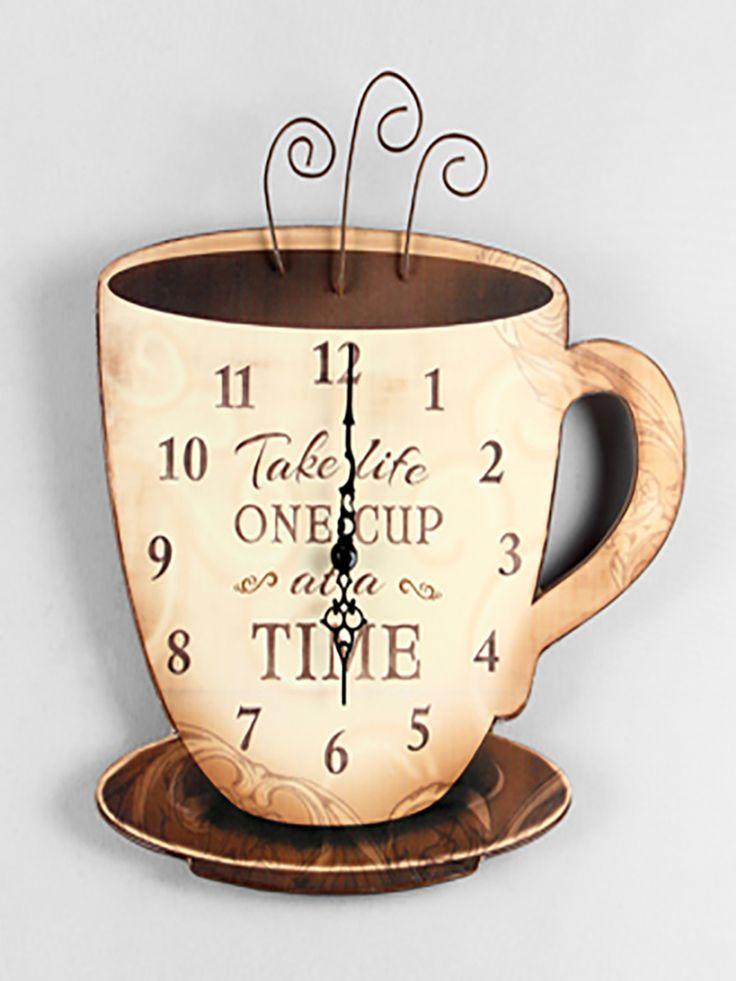 Rustic Wood Coffee Wall Clock | ZallZo.com