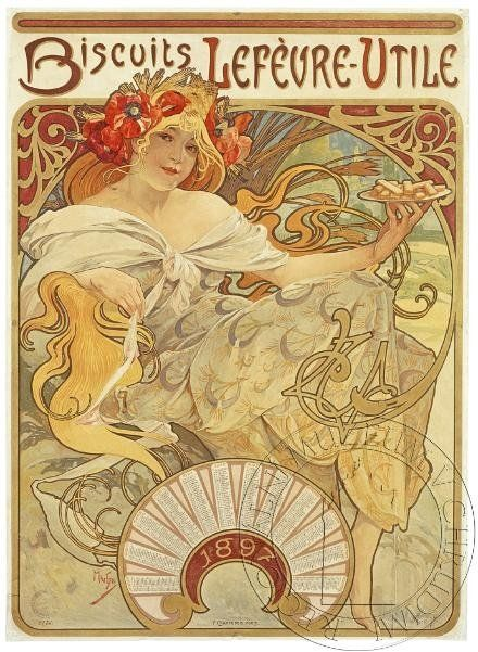 Biscuits Lefévre - Utile by Alfons Mucha, 1896. eSbírky, CC BY