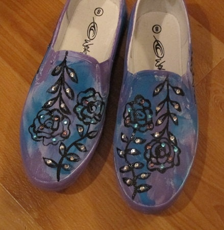 Painted and Glitzed Slip On Shoes by Letzrock Designs by Letzrock, $49.95